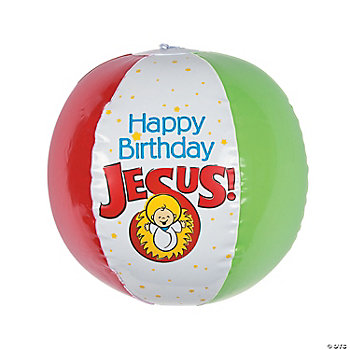 """Happy Birthday Jesus"" Beach Balls"