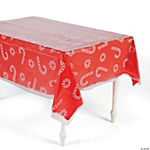 Clear Candy Cane & Peppermint Printed Tablecloth