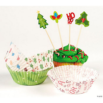 Holiday Baking Cups With Picks