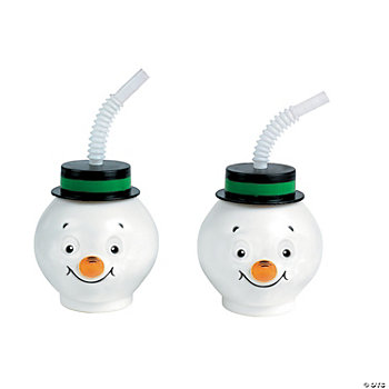 Snowman Cups With Lids & Straws