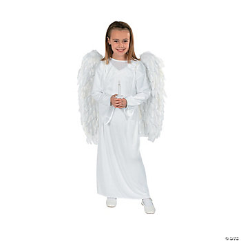 Child Angel Costume With Wings And Candle