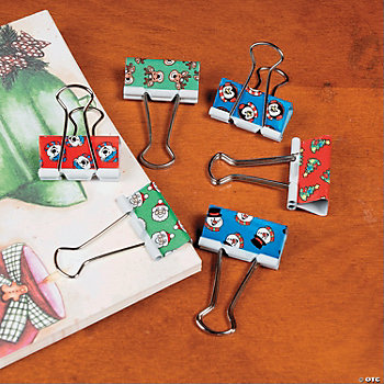 Holiday Print Binder Clips