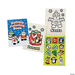 Holiday Coloring Books with Sticker Sheets