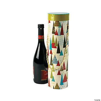 Christmas Print Wine Boxes With Handles