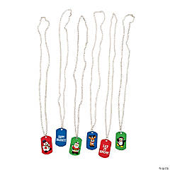 Holiday Print Dog Tag Necklaces