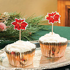 Poinsettia Baking Cups with Picks