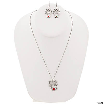 Rhinestone Reindeer Necklace & Earrings Set