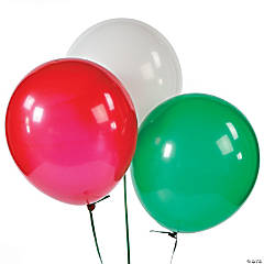 Latex Red, Green & White Balloon Assortment