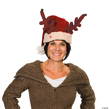 Plush Musical Antler Santa Hat