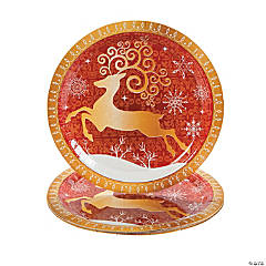 Red & White Reindeer Dinner Plates