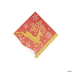Red & White Reindeer Beverage Napkins