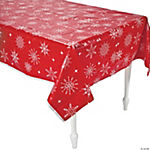 Red & White Snowflake Table Cover
