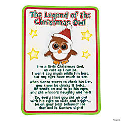 """The Legend of the Christmas Owl"" Pins on Cards"