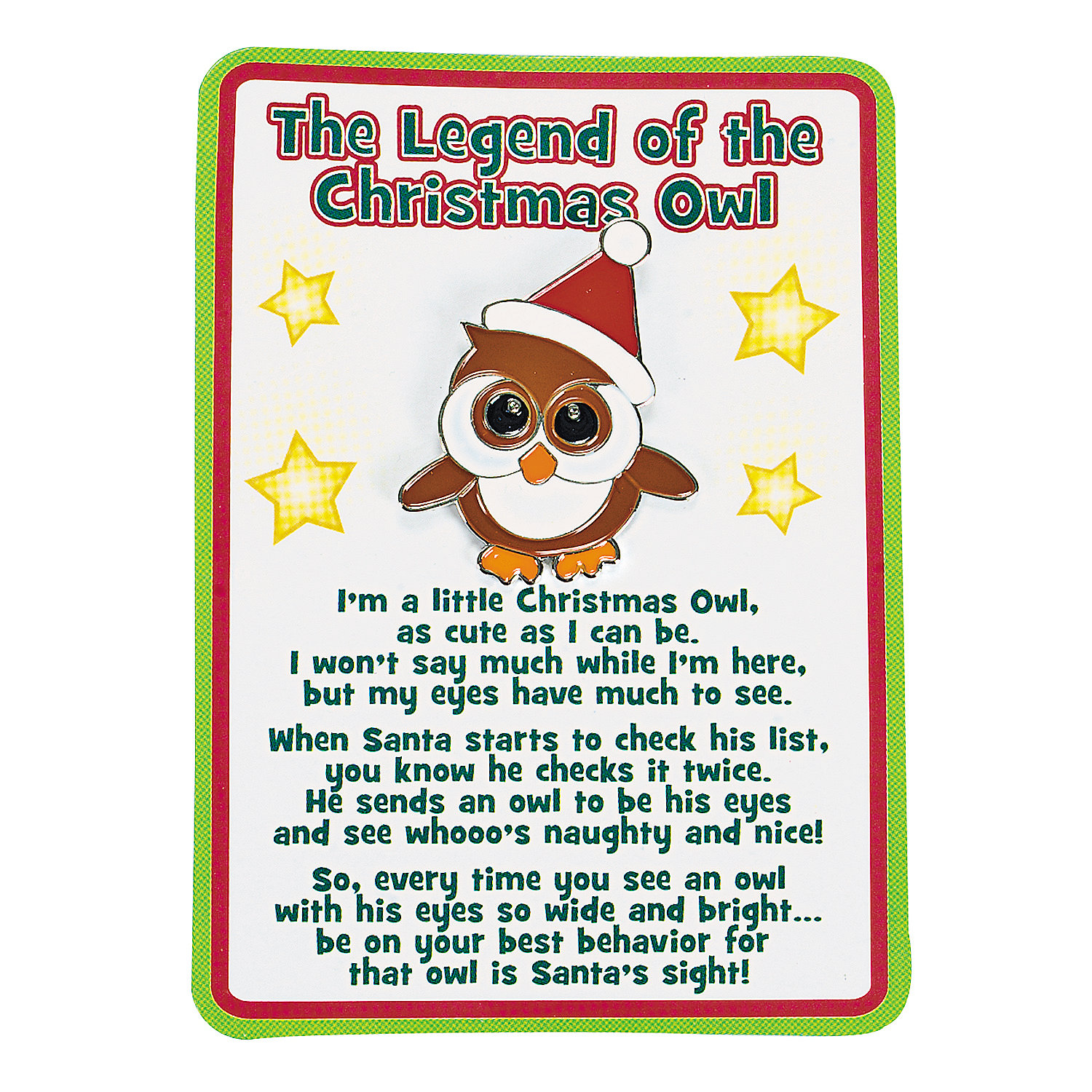 "Legend Of The Christmas Tree Poem: ""The Legend Of The Christmas Owl"" Pins On Cards"
