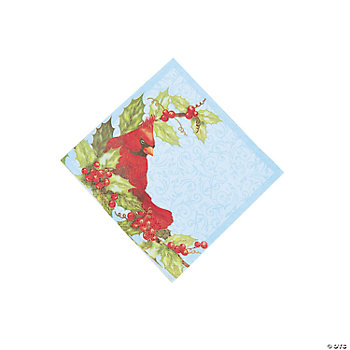 Cardinal & Holly Beverage Napkins