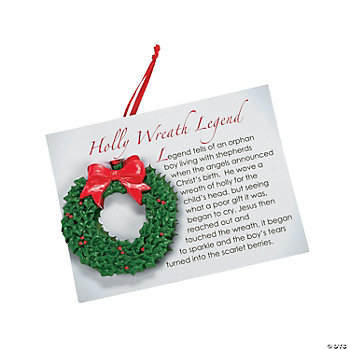 Holly Wreath Ornaments on Card