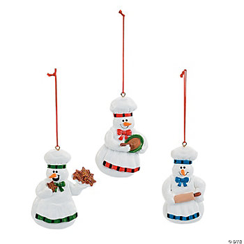 Snowmen Making Cookies Ornaments
