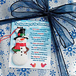 """The Meaning of the Snowman"" Ornaments on Card"