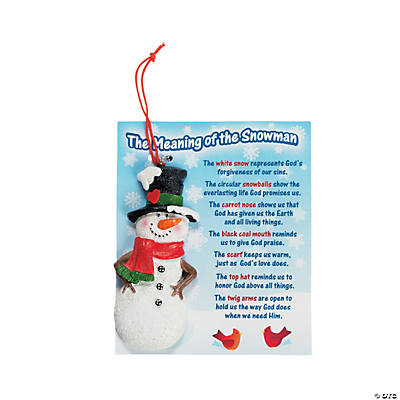 """The Meaning of the Snowman"" Christmas Ornaments on Card"