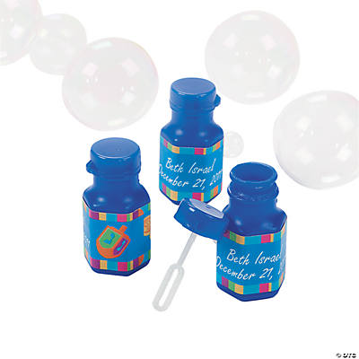 Personalized Hanukkah Mini Bubble Bottles