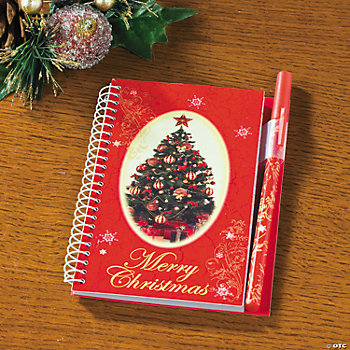 """Merry Christmas"" Spiral Notebook & Pen Sets"