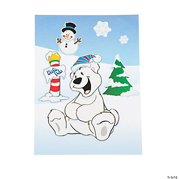 Make-A-Polar Bear Santa Sticker Scenes