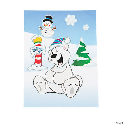 Polar Bear Santa Sticker Scenes