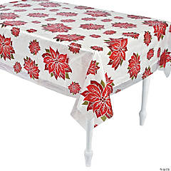Clear Poinsettia Print Tablecloth