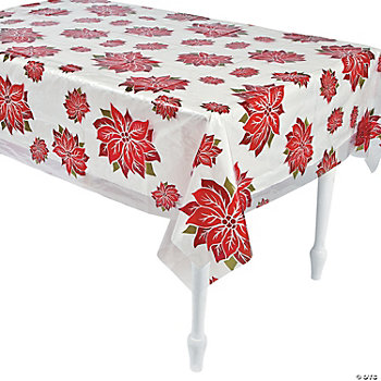 Clear Poinsettia Print Table Cover