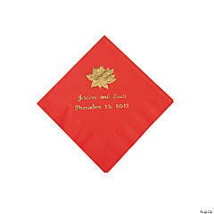 Red Personalized Poinsettia Beverage Napkins - Gold Print