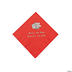 Red Personalized Poinsettia Beverage Napkins - Silver Print