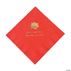 Red Personalized Poinsettia Luncheon Napkins - Gold Print