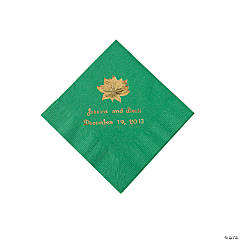 Green Personalized Poinsettia Beverage Napkins - Gold Print