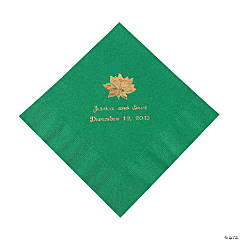 Green Personalized Poinsettia Luncheon Napkins - Gold Print