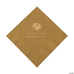 Gold Personalized Poinsettia Luncheon Napkins - Gold Print