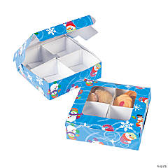 Four-Section Treat Boxes - Snowman