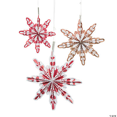 Red & White Snowflake Hanging Fans