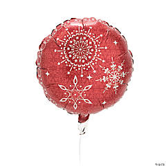 Red & White Snowflake Mylar Balloon