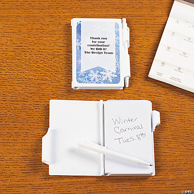 Personalized Blue & White Snowflake Notepad Cases with Pen