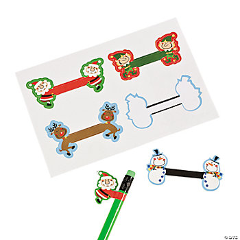 Christmas Sticker Pencil Toppers