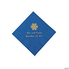 Blue Personalized Snowflake Beverage Napkins - Gold Print