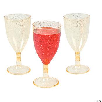 Plastic Gold Glitter Wine Glasses