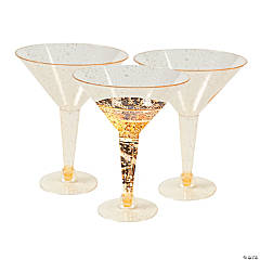 Gold Glitter Martini Glasses