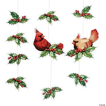 Cardinal & Holly Hanging Decorations