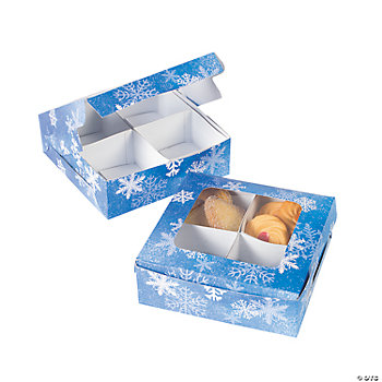 Four-Section Treat Boxes - Snowflake