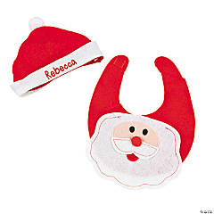 Personalized Santa Baby Bib & Hat Set