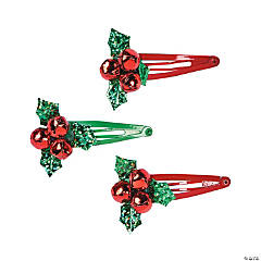 Metal Jingle Bell Holly Hair Clips