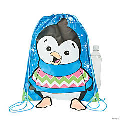 Penguin Drawstring Backpacks