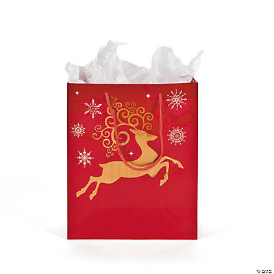 Medium Red & White Reindeer Gift Bags