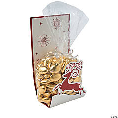 Red & White Reindeer Cellophane Bags